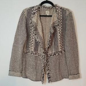 EUC Chico's Open Front Fringed Cardigan
